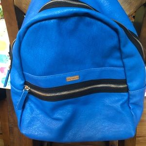 Kenzie faux leather indigo blue backpack